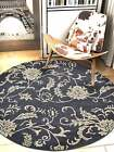 Rugsotic Carpets Hand Tufted Woolen Round Area Rug Floral Charcoal Cream K00542