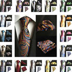 NEW Mens Silk Tie Pocket Square Set Flower Paisley Party Handkerchief Neck Ties