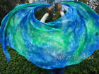 1pc 2.7m*1.1m vibrant tie-dye belly dance 5mm silk veil, hand rolled edges