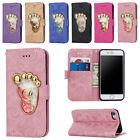 Glasses Glitter Leather Wallet Case Stand Cover for iPhone 5 5S SE 6 6S 7 8 Plus
