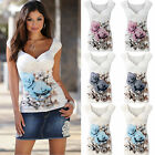 UK Womens V Neck Floral Vest T-Shirt Ladies Summer Casual Tank Tops Blouse  6-18