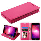 for LG X Power 2 ( US701 ) PINK WALLET LEATHER SKIN STAND ACCESSORY COVER CASE