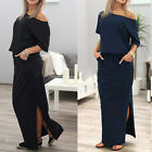 US New Summer Womens One Shoulder Casual Loose Split Long Maxi Beach Long Dress