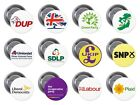 UK POLITICAL PARTIES General Election Vote Pin / Button Badge