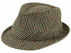Hawkins Mens Tweed Country Trilby Hat Rolled Brim Headwear Classic Fedora Cap