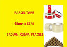 Packing Parcel Box Buff Brown Clear Fragile 48mm x 66M Rolls Tape 2 6 12 24 48 x
