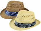 Hawkins Mens One Size Shapeable Brim Straw Sun Trilby Hat With Hibiscus Print