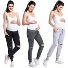Zeta Ville - Women's pregnancy pants trousers ripped knees low-rise waist - 661c