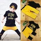 2pcs Toddler Kids Baby Boys T-shirt Tops + Long Pants Summer Outfits Clothes Set