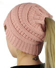 CC Ponytail Beanie Hat Soft Stretch Cable Knit High Bun Ponytail C.C Beanie!  фото