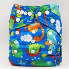 Reusable Bamboo Charcoal One Size Pocket Diaper Double Gussets Cloth DiaperNappy