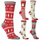 12 Ladies Festive Feet Stocking Filler Xmas Santa Christmas Novelty Socks UK 4-8