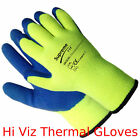 1, 12 Pairs Thermal Winter Latex Grip Work Gloves Builder Industry Garden Hi Viz