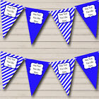 Royal Blue White Stripes Personalised Children's Birthday Party Bunting Banner