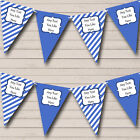 Sky Blue White Stripes Personalised Children's Birthday Party Bunting Banner