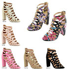 New Women Strappy Cage CutOut Chunky High Heel Pump Sandal Booties Peep Open Toe