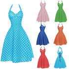Womens Halter 1950s 60s Swing Pinup Vintage Retro Rockabilly Evening Party Dress