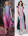 Colour Block Contrast Pleated Ruffle Maxi Shirt Dress Silk See-through Lace Back
