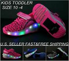 Kids Roller Skates LED Light Up Sneaker Wheel Luminous Shoes Boys Girls Athletic