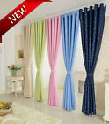 PAIR STAR TYPE RING TOP EYELET READY MADE CURTAINS - UK