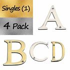"""3"""" Tall High Quality Solid Brass Letter   Singles /4 Pack   Gold/ Silver Finish"""