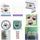 OWL GIRL BABY SHOWER Party Supplies Napkins Plates Invitations Cups Table Cover