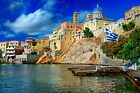 Greek Village Flag Greece Holiday Homes by Sea Canvas Picture Wall Art Print