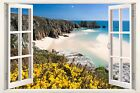 3D Window Effect on Canvas Porthcurno Beach Cornwall Sea Picture Wall Art Print