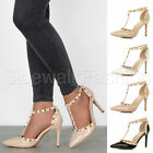 Womens ladies high heel goth punk rock studded t-bar pointed court shoes size