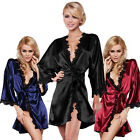 Luxury Women Nightdress Satin Lace Kimono Sleepwear Lingerie Dressing Gown Robe