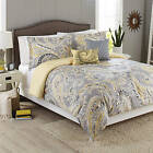 Better Homes and Gardens 5-Destroyed Bedding Comforter Set, Yellow Grey Paisley