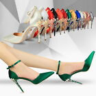 Green Satin Pointy Metal Carving Heels D'orsay Ankle Strap Stiletto Women Shoes