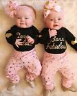 2PCS Set Newborn Baby Girls Long Top Romper Long Pants Outfits Clothes 0-24M