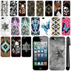 For Apple iPhone 5/ 5S/ SE Butterfly Design HARD Back Case Phone Cover + Pen