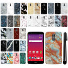 "For LG Stylo 3 Stylus 3 LS777 L84VL L83BL 5.7"" Marble HARD Back Case Cover + Pen"