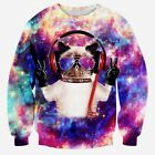 """Cat in Space"" 3D Galaxy Space Printed Hip-Hop Sweatshirt"