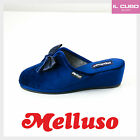 MELLUSO PANTOFOLA DONNA VELLUTO COLORE BLU ZEPPA H 5 CM MADE IN ITALY