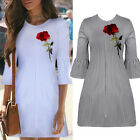 Women Summer Striped Casual Embroidered Rose Party Short Mini Dress Sz S M L XL