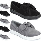 LADIES WOMENS FLAT BOW SNEAKERS FAUX SUEDE PUMPS FASHION SLIP ON CASUAL TRAINERS