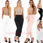 Womens Ladies Ruched High Waist Tie UP Belted Side Pockets Leggings Trouser Pant