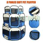 8 Panels Pet Dog Playpen Exercise Crate Cage Enclosure Fence Play Pen Tent Blue