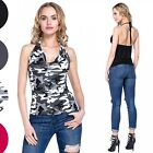 Glamour Empire. Women's Halterneck Bodycon Top Sleeveless Open Back. 597