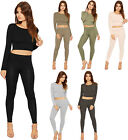 Womens Crop Top Leggings Loungewear Set Plain Stretch Long Sleeve Pants Short