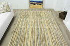 New Modern Mottled Natural Striped Rug Small Large Non Shed Modern Lounge Rugs