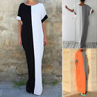 Plus Size M~XXL Women Short Sleeve Loose Long Maxi Dress Casual Shirt Dress NEW