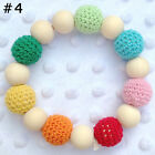 Bead Round New Wooden Teether Colorful Baby Toy Newborn Teething Chewie Bracelet