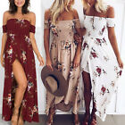 US Womens Off Shoulder Floral Long Maxi Dress Summer Ladies Beach Party Sundress