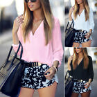 US Women Blouse Short Sleeve Ladies T Shirt Casual Loose V Neck Tops Size M-XL