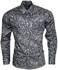 Relco Mens Grey Black Paisley Platinum Long Sleeve Button Down 60's Mod Shirt