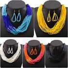 Women Fashion Jewelry Set Party Beaded Twisted Chic Collar Earrings Necklace